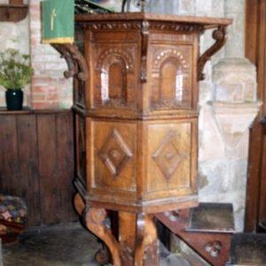 The 17th century oak pulpit