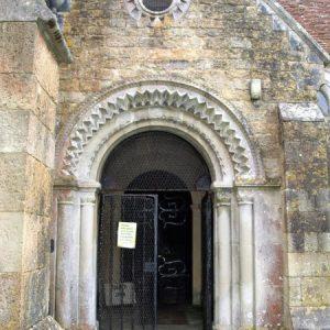 The neo Norman north entrance doorway