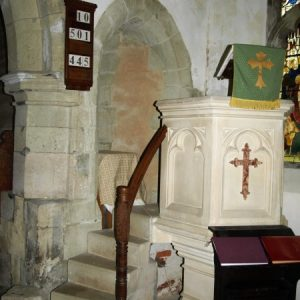 The pulpit and opening to the former rood stairs