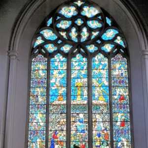The west window in the nave