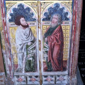 Painted panels on the rood screen